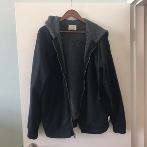 Lucky Brand shearling black zip up hoodie jacket
